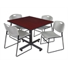 "Kobe 48"" Square Breakroom Table- Mahogany & 4 Zeng Stack Chairs- Grey"
