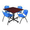 "Kobe 48"" Square Breakroom Table- Mahogany & 4 'M' Stack Chairs- Blue"