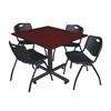 "Kobe 48"" Square Breakroom Table- Mahogany & 4 'M' Stack Chairs- Black"