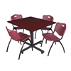 "Kobe 48"" Square Breakroom Table- Mahogany & 4 'M' Stack Chairs- Burgundy"