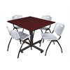"Kobe 48"" Square Breakroom Table- Mahogany & 4 'M' Stack Chairs- Grey"
