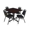 "Kobe 48"" Square Breakroom Table- Mocha Walnut  & 4 Restaurant Stack Chairs- Black"