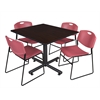 "Kobe 48"" Square Breakroom Table- Mocha Walnut  & 4 Zeng Stack Chairs- Burgundy"