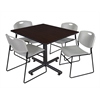 "Kobe 48"" Square Breakroom Table- Mocha Walnut  & 4 Zeng Stack Chairs- Grey"