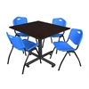 "Kobe 48"" Square Breakroom Table- Mocha Walnut  & 4 'M' Stack Chairs- Blue"
