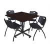 "Kobe 48"" Square Breakroom Table- Mocha Walnut  & 4 'M' Stack Chairs- Black"