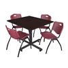 "Kobe 48"" Square Breakroom Table- Mocha Walnut  & 4 'M' Stack Chairs- Burgundy"