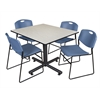 "Kobe 48"" Square Breakroom Table- Maple & 4 Zeng Stack Chairs- Blue"