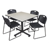 "Kobe 48"" Square Breakroom Table- Maple & 4 Zeng Stack Chairs- Black"