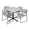 "Kobe 48"" Square Breakroom Table- Maple & 4 Zeng Stack Chairs- Grey"
