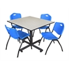 "Kobe 48"" Square Breakroom Table- Maple & 4 'M' Stack Chairs- Blue"