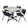 "Kobe 48"" Square Breakroom Table- Maple & 4 'M' Stack Chairs- Black"