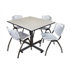 "Kobe 48"" Square Breakroom Table- Maple & 4 'M' Stack Chairs- Grey"