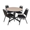 "Kobe 48"" Round Breakroom Table- Beige & 4 Restaurant Stack Chairs- Black"
