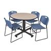 "Kobe 48"" Round Breakroom Table- Beige & 4 Zeng Stack Chairs- Blue"