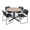"Kobe 48"" Round Breakroom Table- Beige & 4 Zeng Stack Chairs- Black"