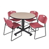 "Kobe 48"" Round Breakroom Table- Beige & 4 Zeng Stack Chairs- Burgundy"