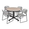 "Kobe 48"" Round Breakroom Table- Beige & 4 Zeng Stack Chairs- Grey"