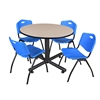 "Kobe 48"" Round Breakroom Table- Beige & 4 'M' Stack Chairs- Blue"