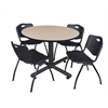 "Kobe 48"" Round Breakroom Table- Beige & 4 'M' Stack Chairs- Black"