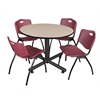"Kobe 48"" Round Breakroom Table- Beige & 4 'M' Stack Chairs- Burgundy"
