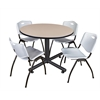 "Kobe 48"" Round Breakroom Table- Beige & 4 'M' Stack Chairs- Grey"