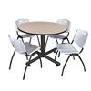 "Kobe 48"" Round Breakroom Table- Beige & 4 'M' Stack Chairs- Grey"