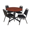 "Kobe 48"" Round Breakroom Table- Cherry & 4 Restaurant Stack Chairs- Black"