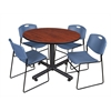 "Kobe 48"" Round Breakroom Table- Cherry & 4 Zeng Stack Chairs- Blue"