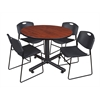 "Kobe 48"" Round Breakroom Table- Cherry & 4 Zeng Stack Chairs- Black"