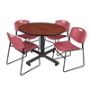 "Kobe 48"" Round Breakroom Table- Cherry & 4 Zeng Stack Chairs- Burgundy"