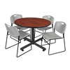 "Kobe 48"" Round Breakroom Table- Cherry & 4 Zeng Stack Chairs- Grey"