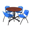 "Kobe 48"" Round Breakroom Table- Cherry & 4 'M' Stack Chairs- Blue"