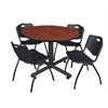 "Kobe 48"" Round Breakroom Table- Cherry & 4 'M' Stack Chairs- Black"