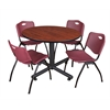 "Kobe 48"" Round Breakroom Table- Cherry & 4 'M' Stack Chairs- Burgundy"