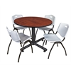"Kobe 48"" Round Breakroom Table- Cherry & 4 'M' Stack Chairs- Grey"