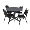 "Kobe 48"" Round Breakroom Table- Grey & 4 Restaurant Stack Chairs- Black"