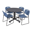 "Kobe 48"" Round Breakroom Table- Grey & 4 Zeng Stack Chairs- Blue"