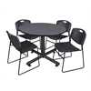 "Kobe 48"" Round Breakroom Table- Grey & 4 Zeng Stack Chairs- Black"
