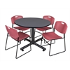 "Kobe 48"" Round Breakroom Table- Grey & 4 Zeng Stack Chairs- Burgundy"