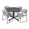 "Kobe 48"" Round Breakroom Table- Grey & 4 Zeng Stack Chairs- Grey"