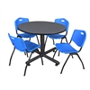 "Kobe 48"" Round Breakroom Table- Grey & 4 'M' Stack Chairs- Blue"