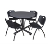 "Kobe 48"" Round Breakroom Table- Grey & 4 'M' Stack Chairs- Black"