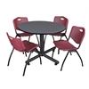 "Kobe 48"" Round Breakroom Table- Grey & 4 'M' Stack Chairs- Burgundy"