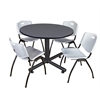 "Kobe 48"" Round Breakroom Table- Grey & 4 'M' Stack Chairs- Grey"