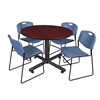 "Kobe 48"" Round Breakroom Table- Mahogany & 4 Zeng Stack Chairs- Blue"