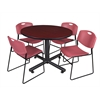 "Kobe 48"" Round Breakroom Table- Mahogany & 4 Zeng Stack Chairs- Burgundy"