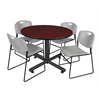 "Kobe 48"" Round Breakroom Table- Mahogany & 4 Zeng Stack Chairs- Grey"