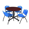 """Kobe 48"""" Round Breakroom Table- Mahogany & 4 'M' Stack Chairs- Blue"""