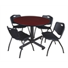 "Kobe 48"" Round Breakroom Table- Mahogany & 4 'M' Stack Chairs- Black"